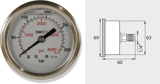 Manomètre 63mm, de 0 à 250 bar entrée latérale
