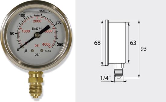 Manomètre 63mm, de 0 à 250 bar entrée verticale