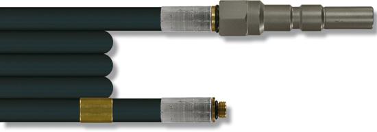 Furet haute pression 25 mètres, 300 bar 100°C, tresse métallique DN6 KW-1/8''M