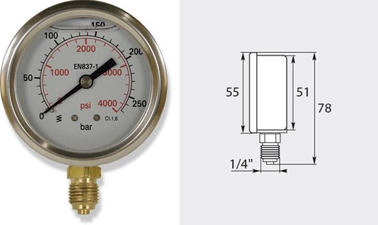 Manomètre 63mm, de 0 à 600 bar entrée verticale