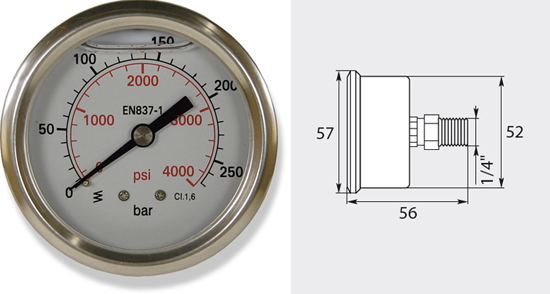Manomètre 50mm, de 0 à 250 bar entrée latérale