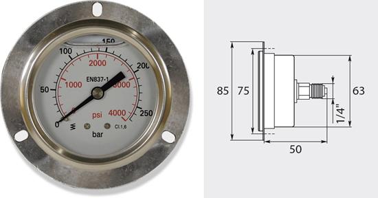Manomètre 50mm, de 0 à 400 bar entrée verticale
