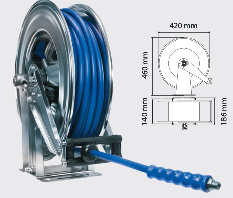 Enrouleur automatique prêt-à-brancher avec flexible de 20 mètres, 300 bar